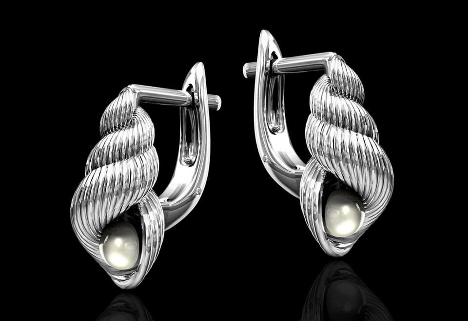 silver conical shell earrings