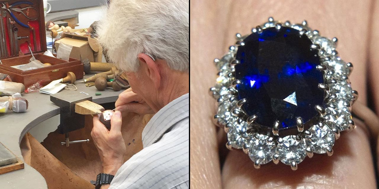 Original stone setter of princess diana diamond and sapphire engagement ring